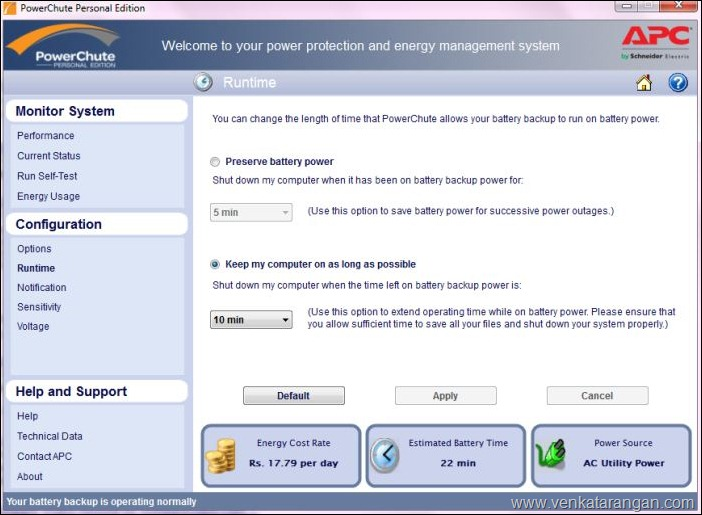 PowerChute Auto Shutdown settings