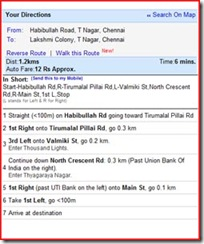 Yahoo Map in Tamil - Habibullah Road to Lakshmi Colony instructions