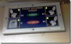 Toilet occupied Status - Pandian Express Class 1A Coupe