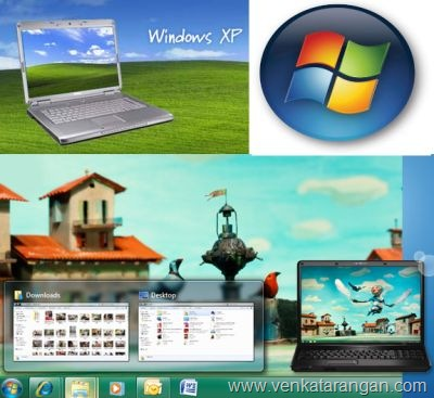 Windows 7 benefits over Windows XP (Windows images and logo are copyright/trademark of Microsoft Corp)
