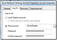Zune Network Sharing User