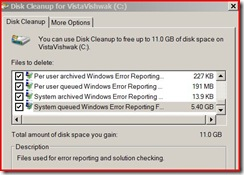 Disk Cleanup utility in Windows Vista