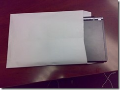 Sony Vaio TX57GN inside an envelope