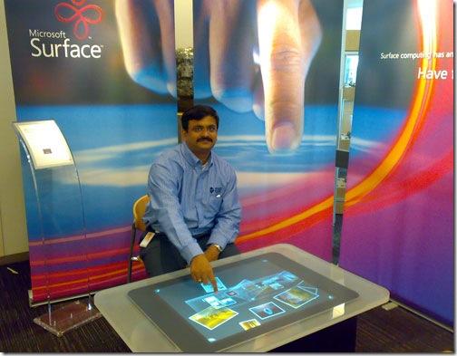 Venkatarangan playing with Microsoft Surface