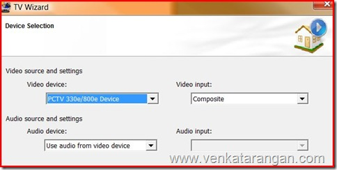 Select Pinnacle 330e/880e Device and Composite as Vide Input