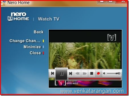 Nero Media playing TV from Tata Sky Satellite DTH with Pinnacle Hybrid tuner in Vista x64