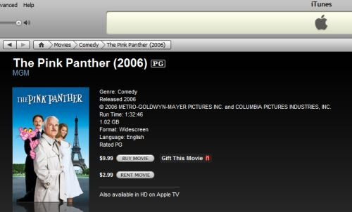The Pink Panther (2006) itunes store rental