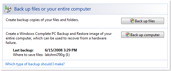 Windows Vista Back up files or your entire computer