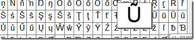 Windows Character Map with 6 U Character variations