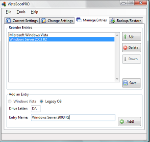 VistaBootPro (Windows Vista BCDEdit GUI)