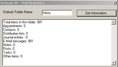 Figure 3: Outlook Folder Information from your application.