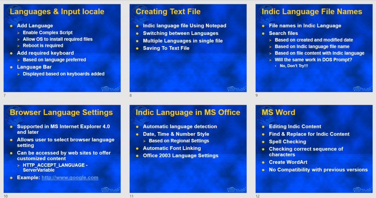 Languages & Input locale, Indic Language File Names & Indic Language in MS Office