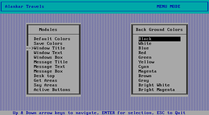 User Interface preferences: Every element on the screen was configurable, other classes inherited the settings from here