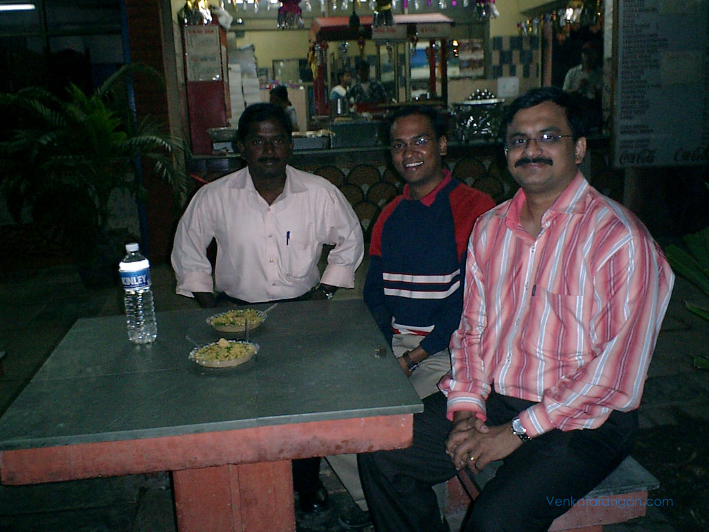 Bala, Ranga and myself enjoying a spicy Bhel Puri