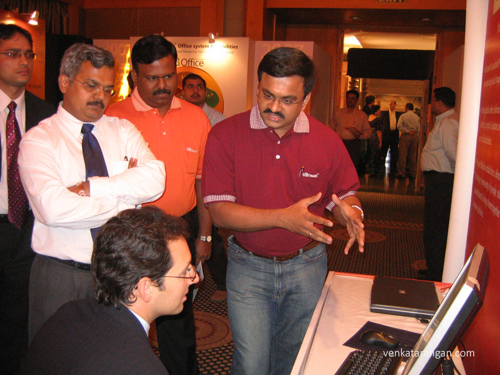 Venkatarangan explaining Bhashaindia to Chris Capossela