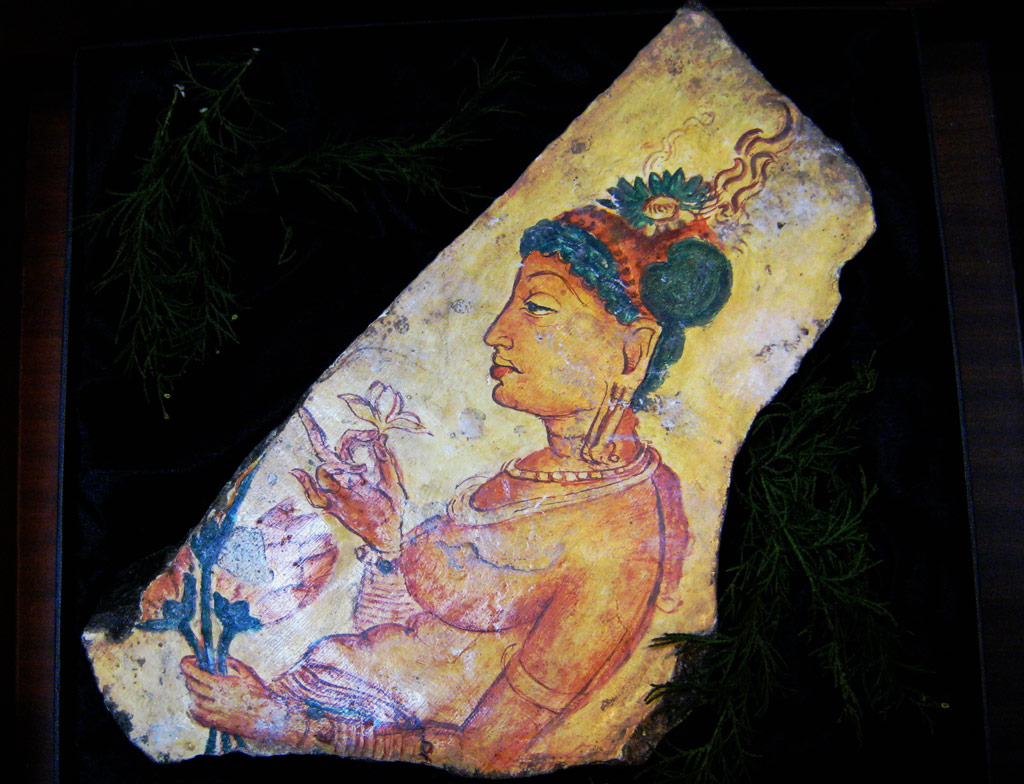 Replica of Sigiriya Fresco maiden holding flowers that I received