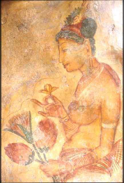 Sigiriya Fresco maiden holding flowers (ORIGINAL)