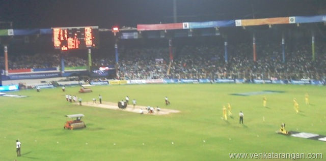 Pitch Setup in the break - Chennai Super Kings 23 April 2008 Match