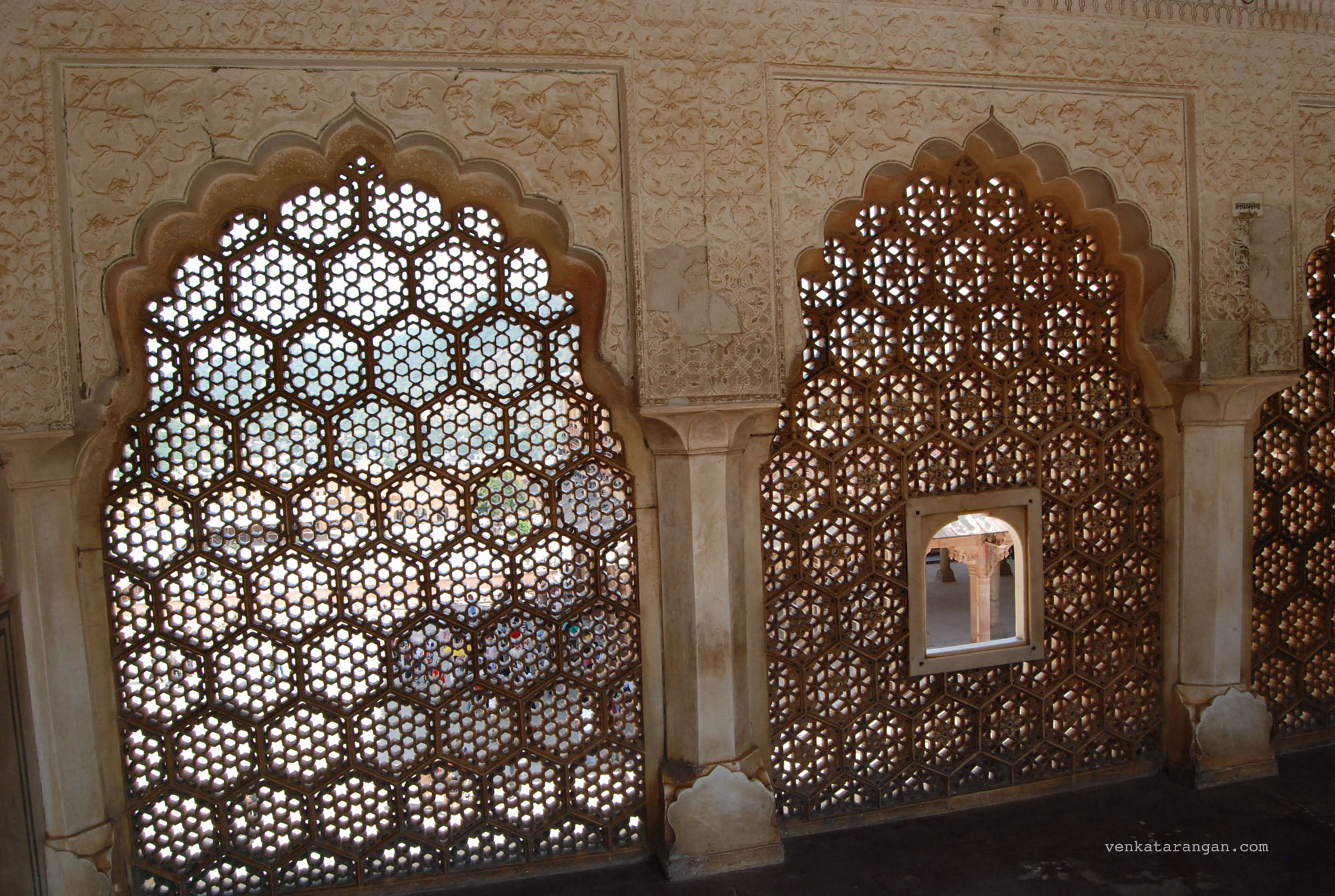 Suhag Mandir where ladies of the royal family used to watch functions held in the Diwan-i-Aam through latticed windows