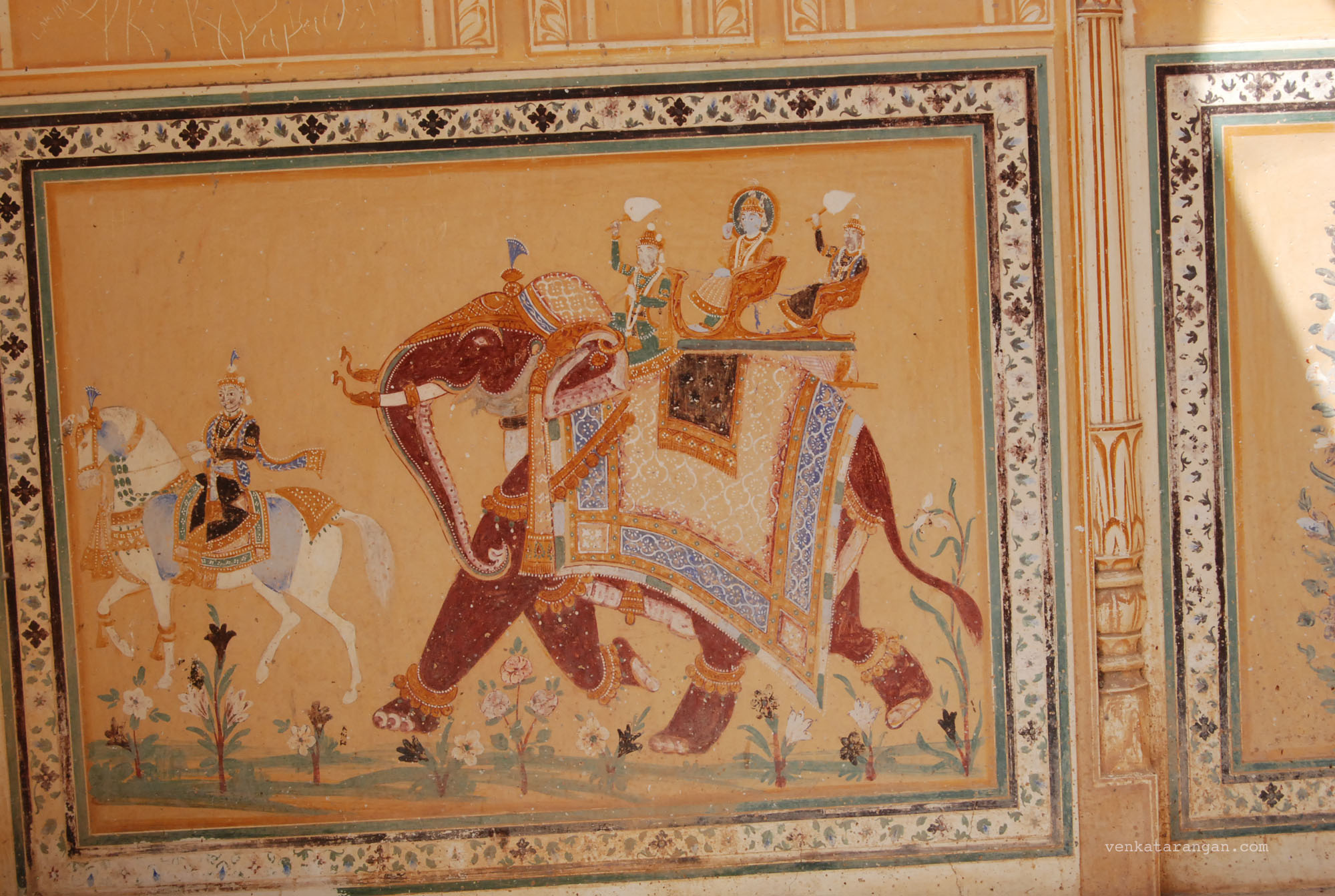 Eloquent paintings on the walls of Madhvendra Palace