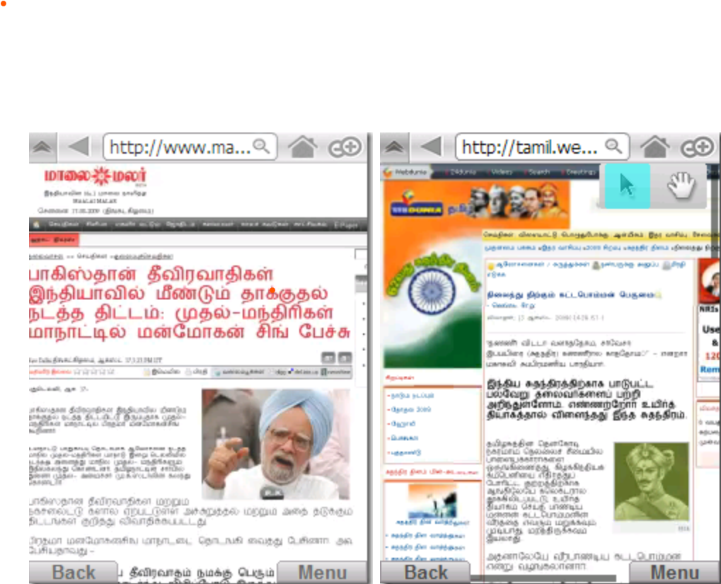 (Windows Mobile running Skyfire displaying fine Unicode Tamil web pages)