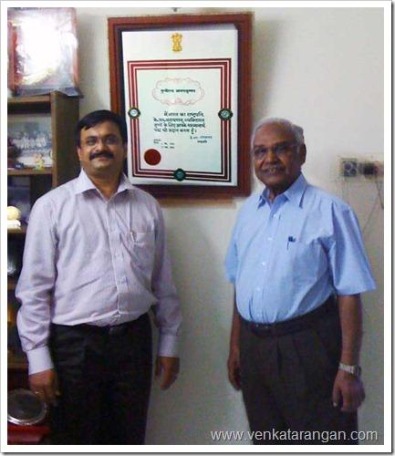 Photo with Padma Shri recipient Prof. M. Anandakrishnan