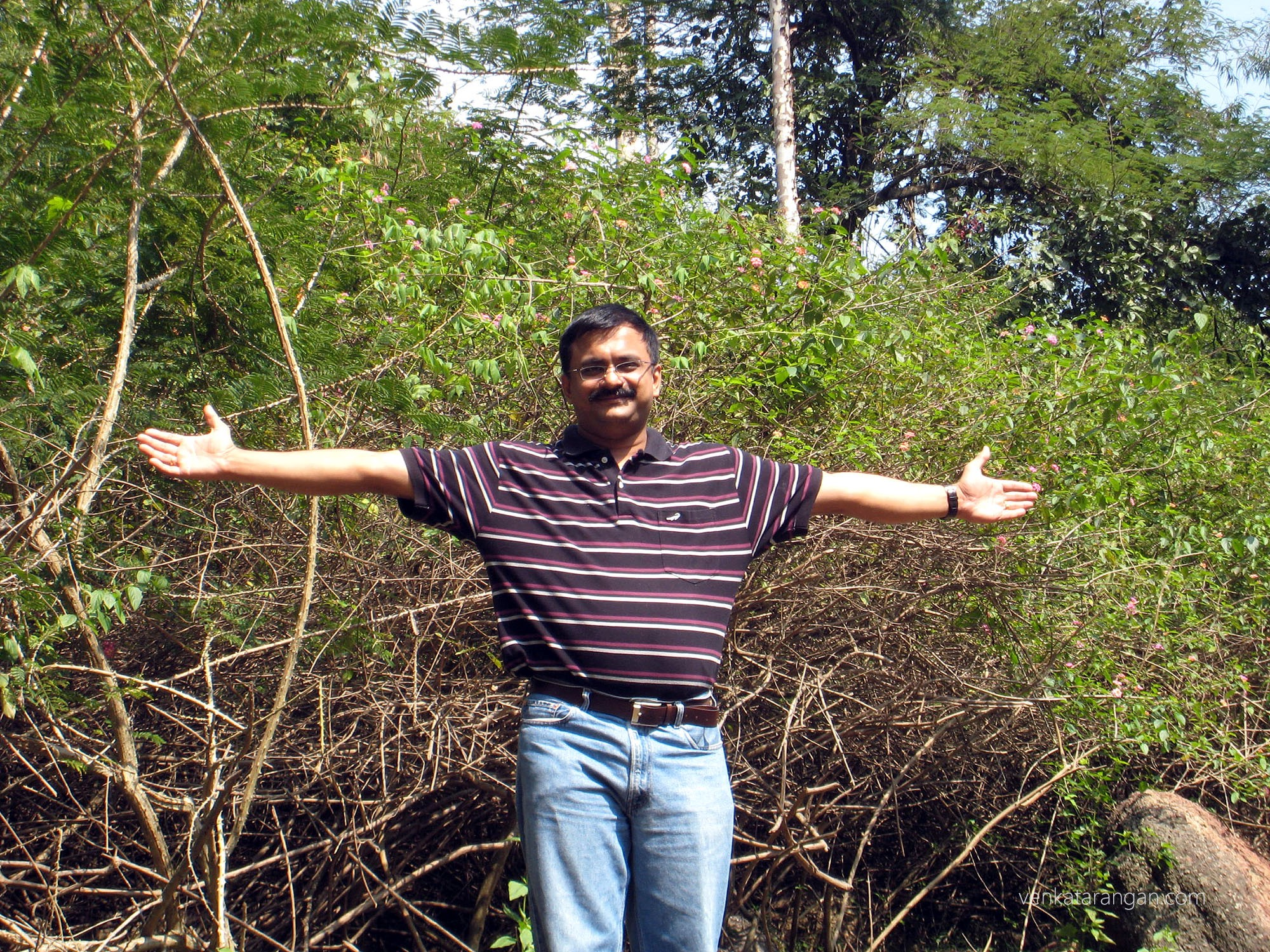 Venkatarangan posing in the Trek path in Yelagiri