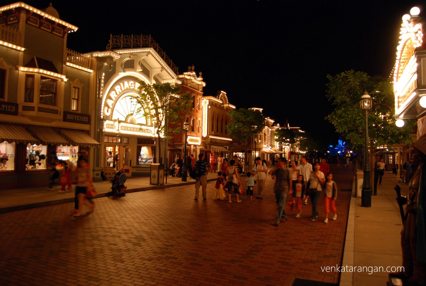 Night time view of HK Disneyland main street