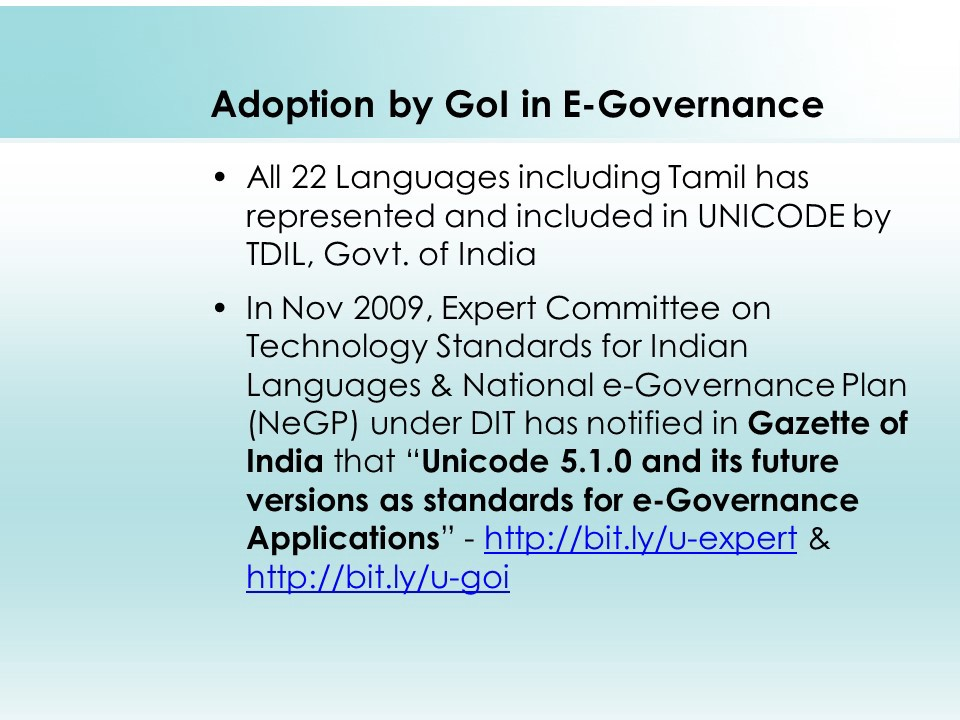 Unicode adoption by Government of India in E-Governance