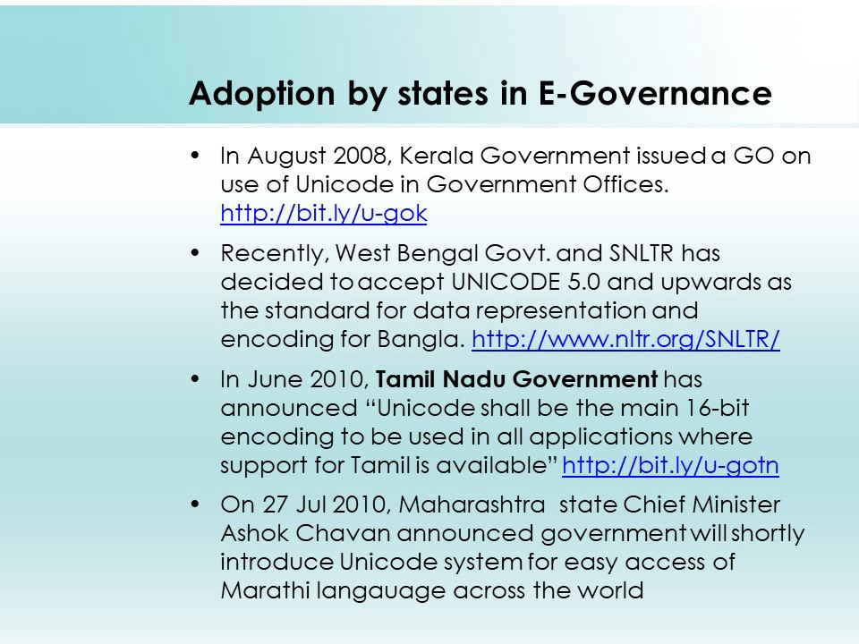 Unicode adoption by State Governments in E-Governance