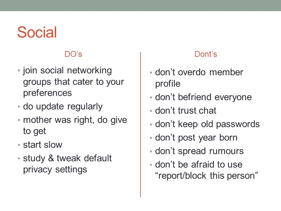 Basic do's and dont's for social media
