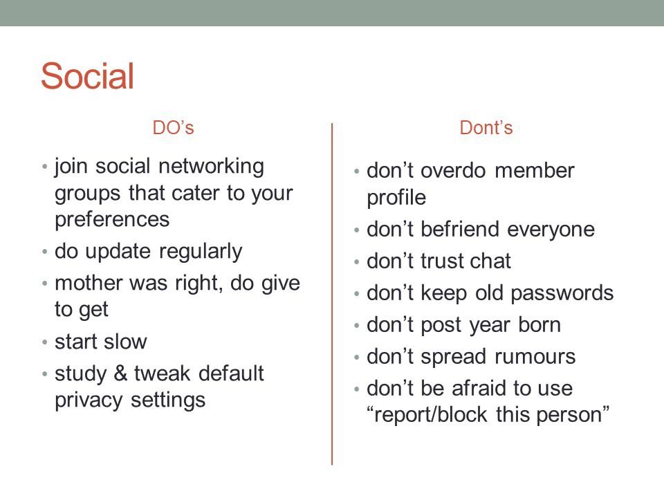 Basic do's and dont's for social media