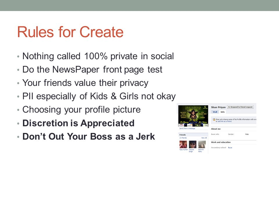 Rules for creating content for Social