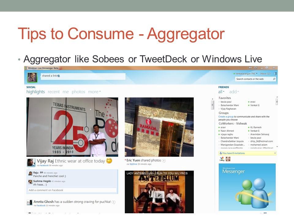 Tips to consume social media - aggregator