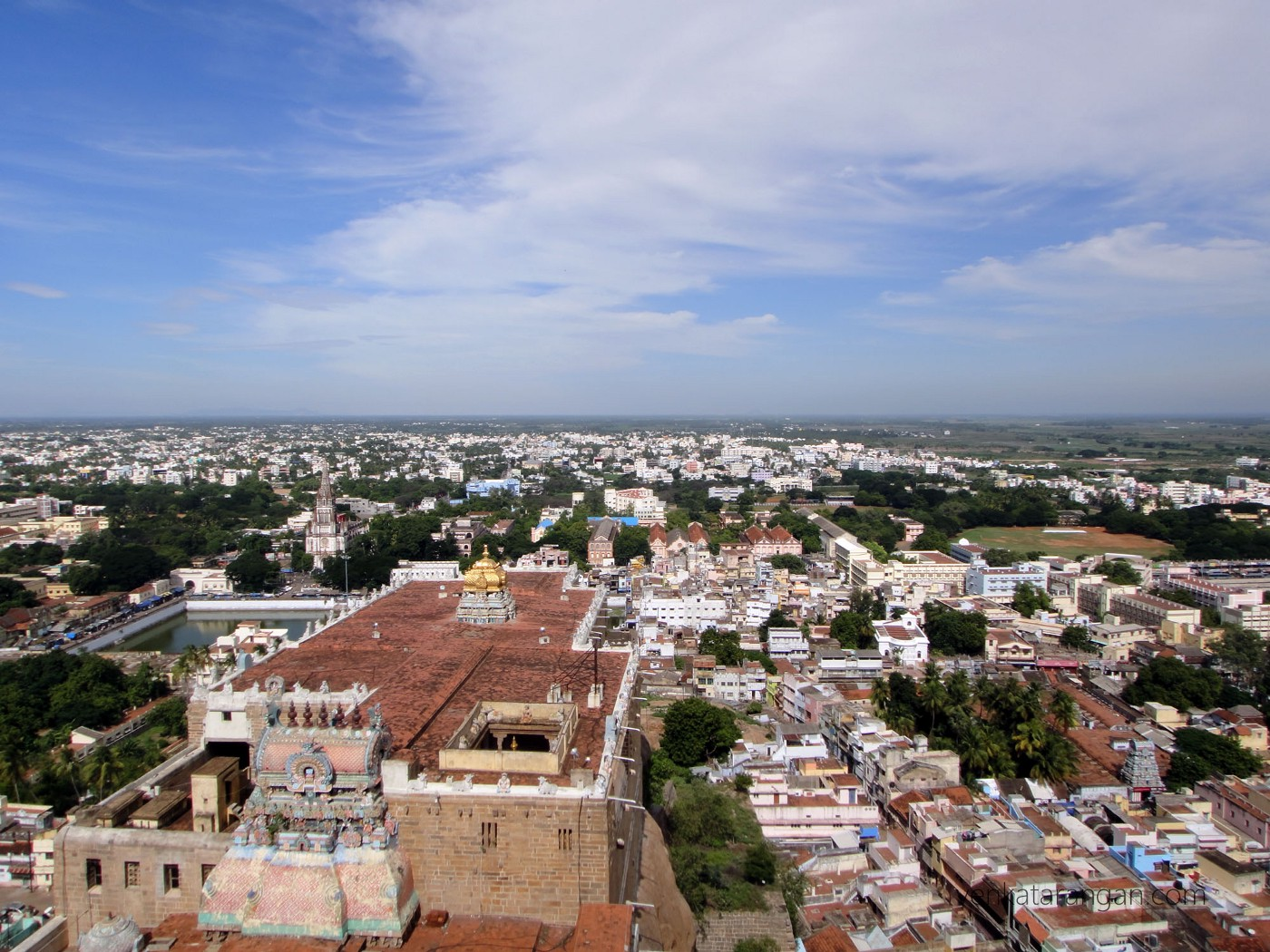View of Trichy Rockfort temple (திருச்சி உச்சிப்பிள்ளையார் கோயில்) from the top