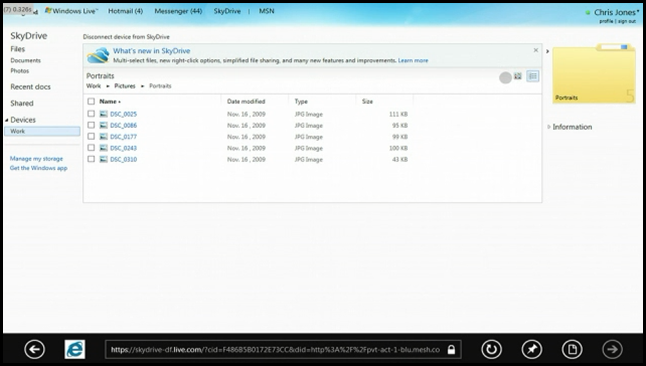 Skydrive powered remote drive access