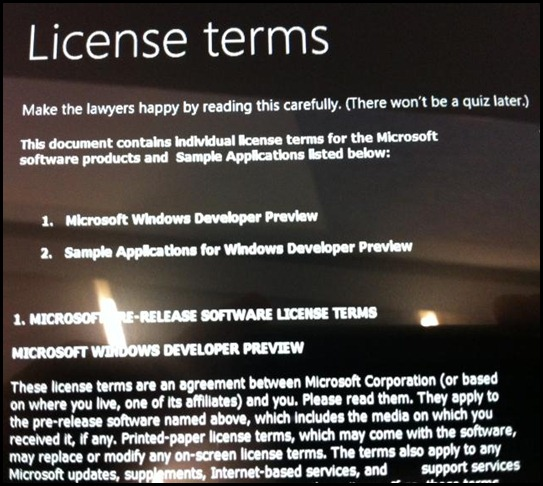 Samsung's Windows Tablet License terms - Make the lawyers happy by reading this carefully