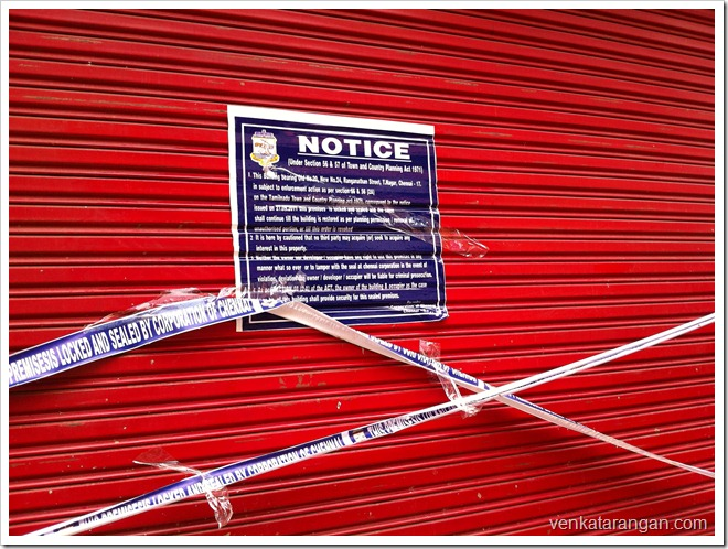 Shops sealed in Ranganathan Street