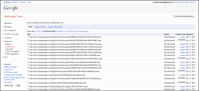 google webmaster error log
