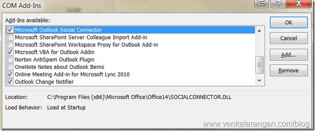 Microsoft Outlook Social Connector