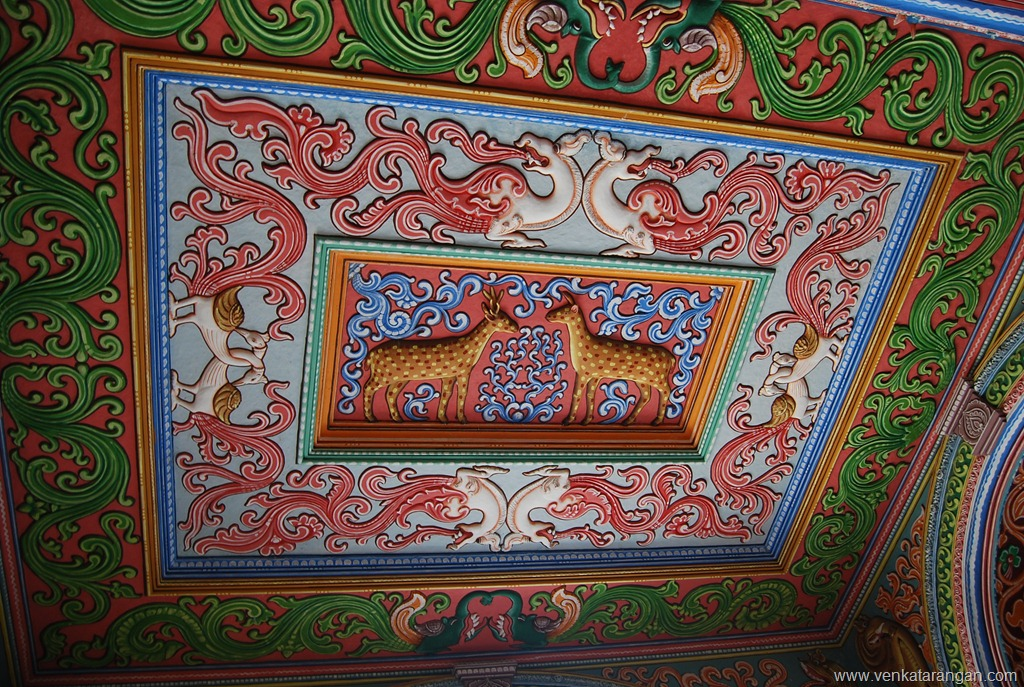 Celing paintings in Saraswathi Mahal Library