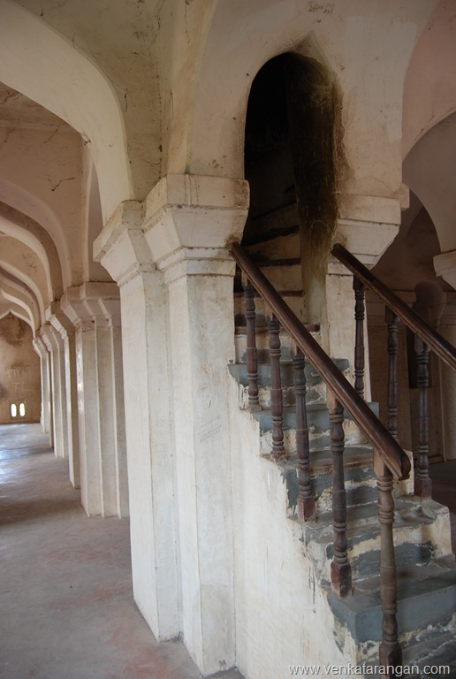 The many staircases leading to top of the tower in Tanjore palace