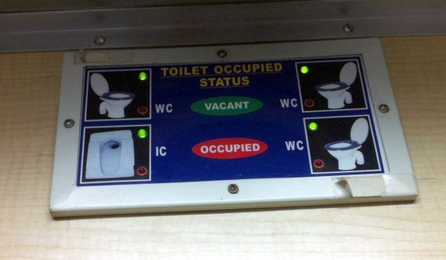 Toilet occupied status indicator in First AC Coaches