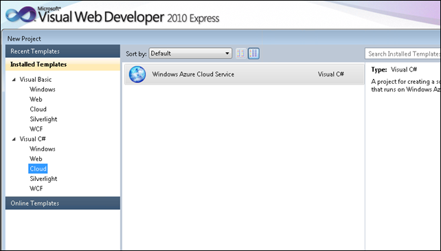 Visual Web Developer 2010 Express with Windows Azure template