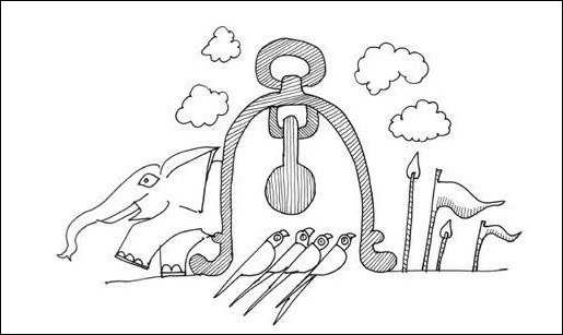 Jaimini hearing from the birds that were protected by war elephant bell from Jaya by Devdutt Pattanaik