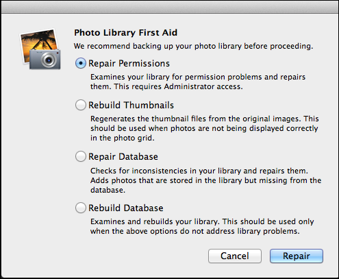 iPhoto Rebuild Database Option