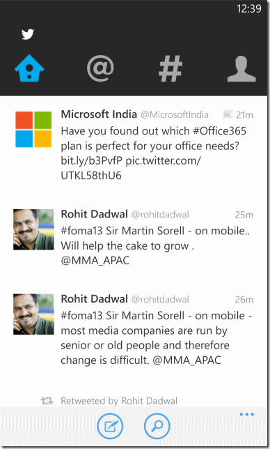 New version of twitter app for Windows Phone