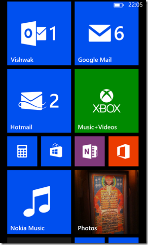 My home screen customized in Nokia Lumia 920