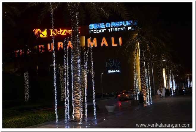 Night lights in front of The Dubai Mall