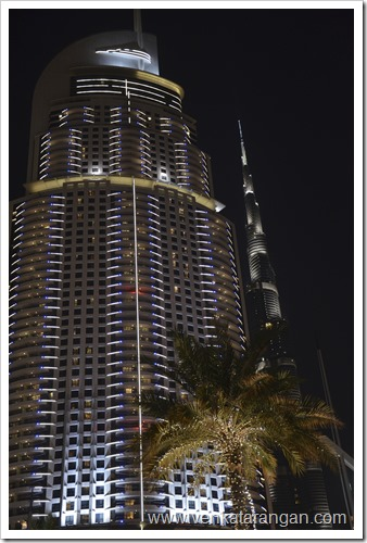Burj Khalifa Tower (behind) - a night view